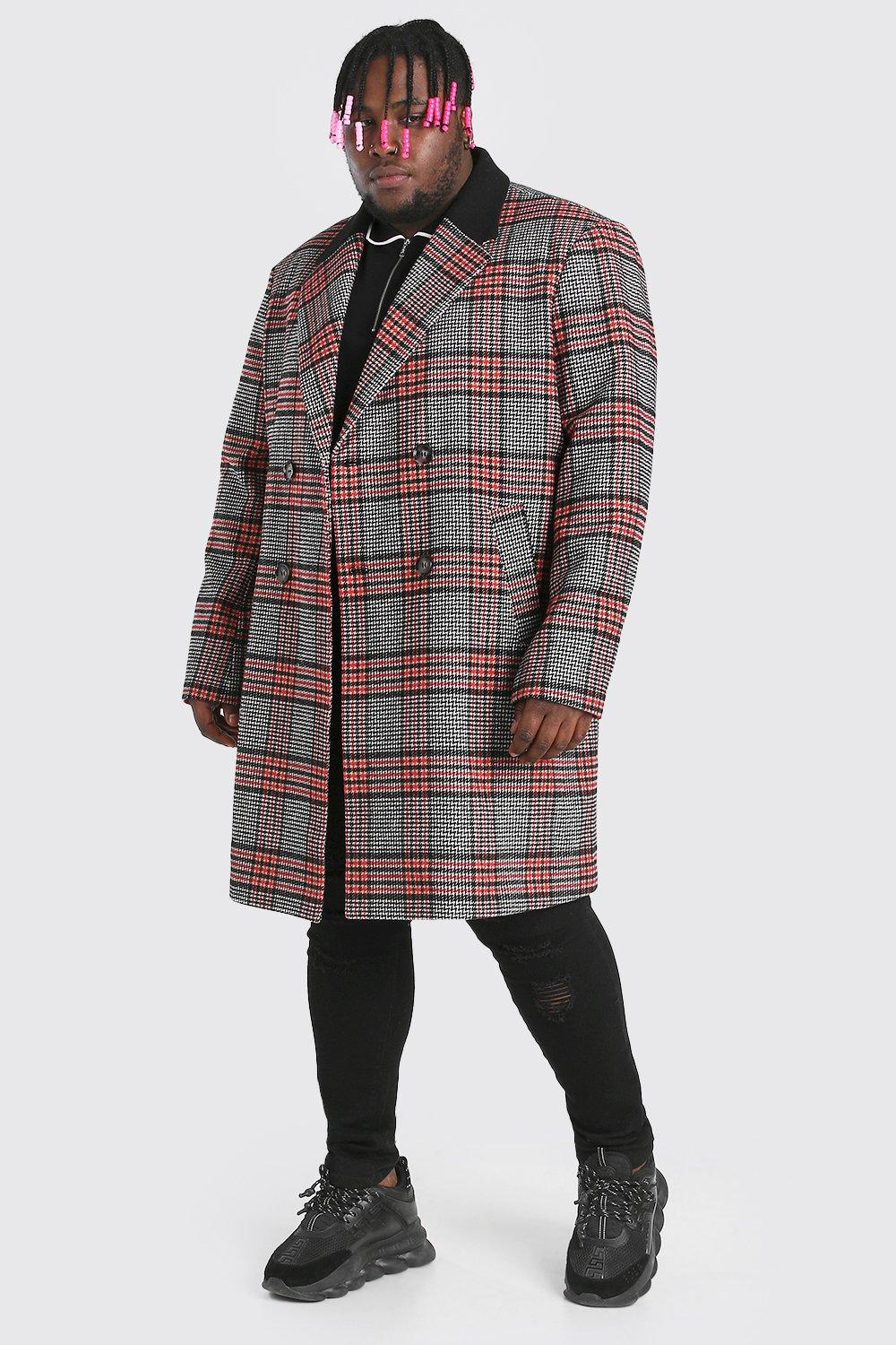 Men's Vintage Jackets & Coats Mens Plus Size Double Breasted Overcoat - Red $63.00 AT vintagedancer.com
