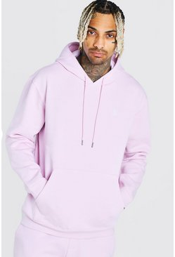 Pink Over The Head Hoodie With Embroidery
