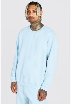 Blue Crew Neck Sweater With Embroidery