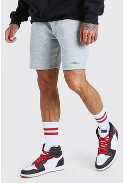 Grey marl Man Signature Mid length jersey short