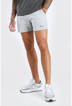 Short en jersey coupe courte signature Man, Gris chiné