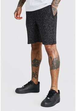 Black Yarn Dyed Mid Length Jersey Short