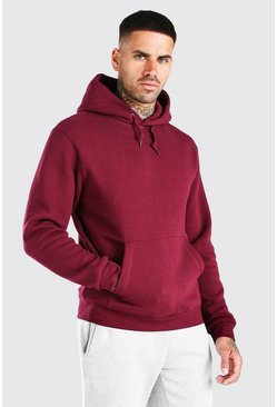 Burgundy Basic Hoodie i fleece