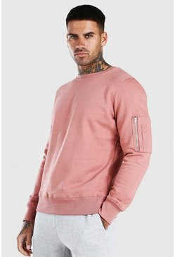 Pink Crew Neck Sweatshirt With Zip Detail