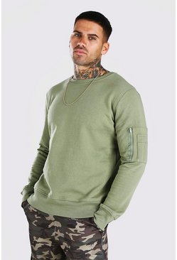 Dusty green Crew Neck Sweatshirt With Zip Detail