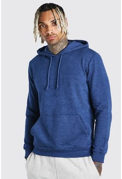 Blue Basic Over The Head Fleece Hoodie