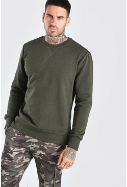 Khaki Basic Crew Neck Sweatshirt