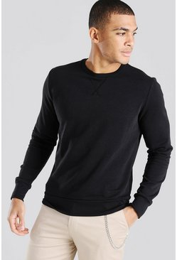 Black Basic Crew Neck Sweatshirt