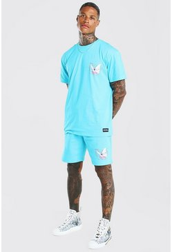 Turquoise Official Butterfly Print T-Shirt & Short Set