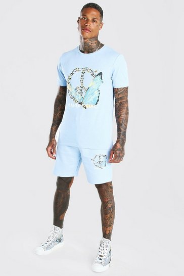 Powder blue Peace Butterfly Printed T-Shirt & Short Set