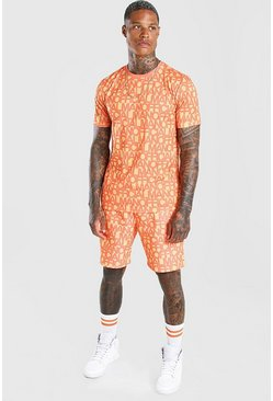 Orange Man Official All Over Print T-Shirt & Short Set