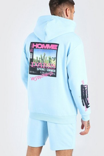 Blue Homme Back Print Hooded Short Tracksuit