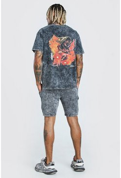 Charcoal Acid Wash Snake Printed T-Shirt & Short Set