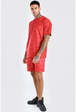 Red Official Man Repeat Print T-Shirt & Short Set