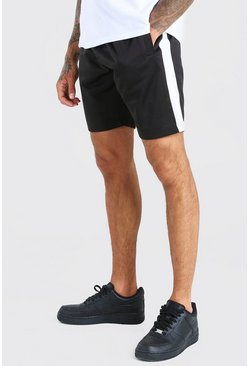 Black Mid Length Short With Side Panel