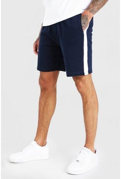 Navy Mid Length Jersey Short With Side Panel