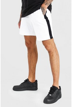 Ecru Mid Length Jersey Short With Side Panel