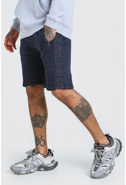 Navy Mid Length Jersey Shorts With Side Zips