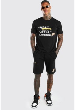Ensemble t-shirt et short imprimé Summer 2020 Man, Noir
