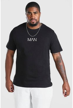 Camiseta con estampado tachado MAN Big And Tall, Negro