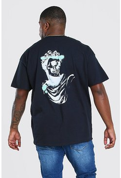 Black Big And Tall Skull Statue Back Print T-Shirt
