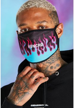 Blue Quavo Fashion mask med eldsflammor