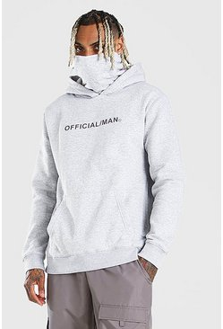 Grey marl MAN Official Hoodie med snood