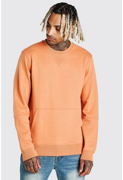 Orange Sweatshirt With Front Pocket