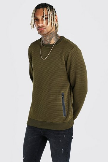 Khaki Crew Neck Sweatshirt In Rib