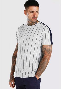 Grey marl Vertical Stripe T-Shirt