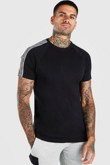Black T-Shirt With Sleeve Tape