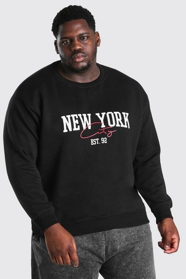 Black Big and Tall NYC Print Sweater