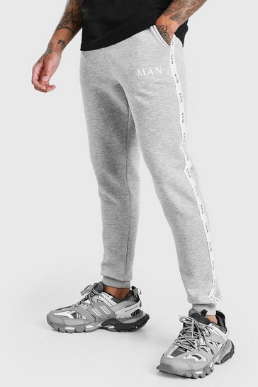 Grey marl Skinny Fit Jogger With MAN Tape