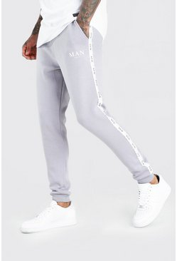 Charcoal Skinny Fit Jogger With MAN Tape