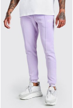 Lilac MAN Skinny Pintuck Jogger With Embroidered Cuff