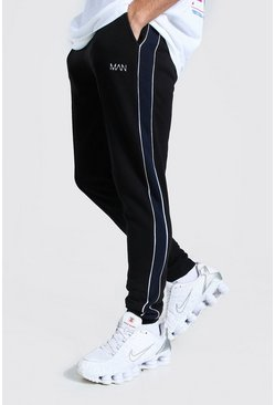 Black MAN Skinny Fit Jogger With Piping Side Panel