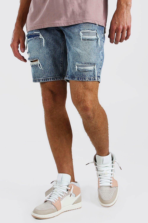 mens loose fit rip and repair jean shorts - blue
