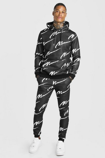 Black All Over MAN Printed Hooded Tracksuit