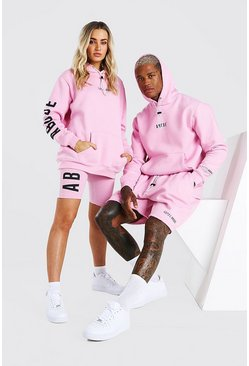 Pink Abode Hooded Short Tracksuit
