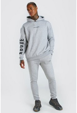 Grey marl Abode Oversized Hooded Tracksuit