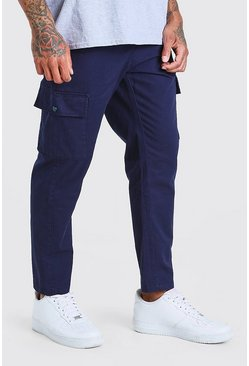 Navy Fixed Waistband Cargo Trouser