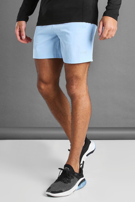 mens man active shorts with man waistband detail - blue
