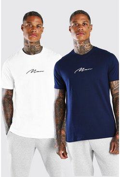 Pack de 2 camisetas MAN Signature, Azul
