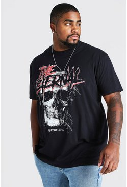 Black Big & Tall Eternal Skull Print T-Shirt