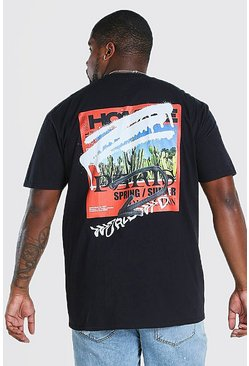 Black Big and Tall MAN Graffiti Back Print T-Shirt