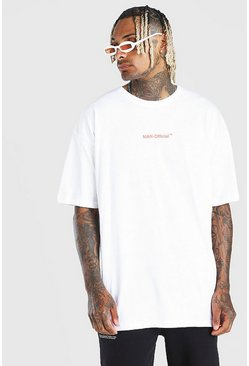 "White MAN Official ""Homme"" Oversize t-shirt med tryck"