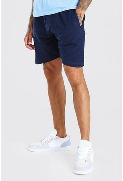 Navy Textured Mid Length Jersey Short