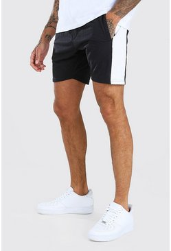 Black Short Length Jersey Short With Side Panel