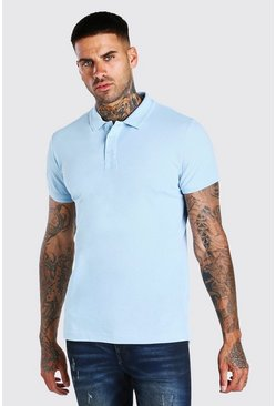 Blue Short Sleeve Pique Polo