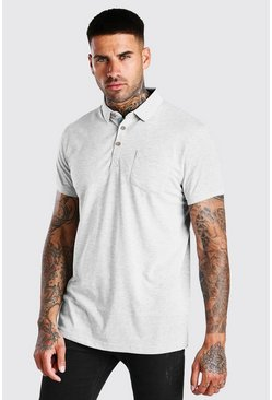 Grey marl Short Sleeve Polo With Pocket